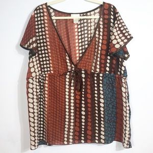 Maurices Brown & Teal Babydoll Top size 2